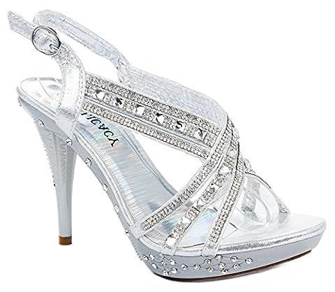 Women Decent62 Silver Crystal Rhinestone Cross Strap Slingback Platform High Heel Pump Dress - Slingback Platform Heels