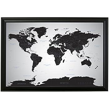 black ice world push pin travel map with pins 24 x 36 black frame