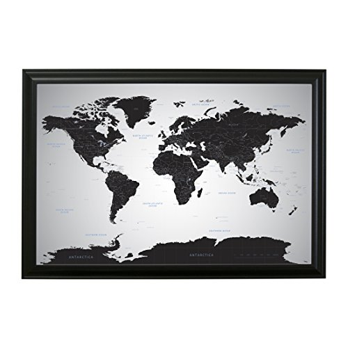 Cork map amazon push pin travel maps black ice world with pins 24 x 36 black frame gumiabroncs Image collections