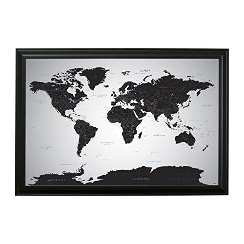 [해외]검은 얼음 세계 푸시 핀 여행지도 핀 - 24 x 36/Black Ice World Push Pin Travel Map with pins - 24 x 36