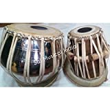 Queen Brass - Brass with Nickle Polish Bayan and Sheesham Wood Dayan Tabla Drum Set By Best Indian Professionals with Base, Cover and Hammer- completely hand roped