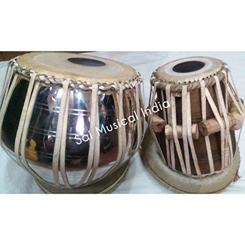 Queen Brass - Brass with Nickle Polish Bayan and Sheesham Wood Dayan Tabla Drum Set By Best Indian Professionals with Base, Cover and Hammer- completely hand roped by Queen Brass