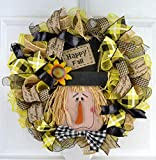 Scarecrow Thanksgiving Deco Mesh Wreath | Fall Front Door Wreath | Black Jute Burlap Yellow Plaid
