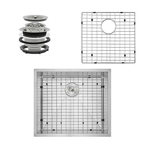 Perfetto Kitchen and Bath 25 x 22 x 9 Handmade 18 Gauge Stainless Steel Undermount Single Basin Kitchen Sink w Dish Grid and Drain Combo Set