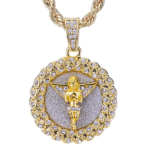 Mens 14 K Gold Plated Hip Hop Iced Out Gold-Tone Praying Angel Round Pendant and Rope Chain 24 HC 121 G