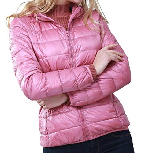 Outwear Donna Cappotti Leggero Da Con Ttyllmao Packable Rosa Cappuccio Piumini Giù UCw5W6Fq6