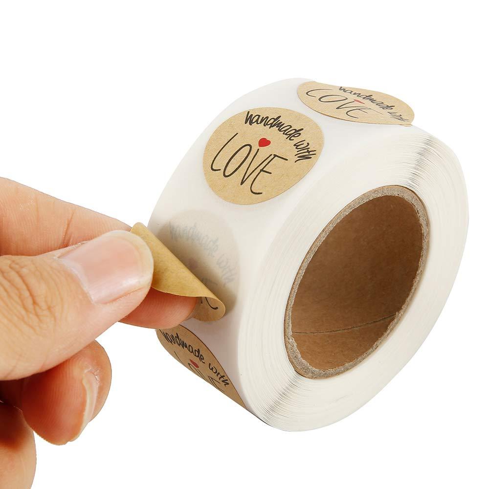 Rotolo di 500 Pcs Etichette Adesive Handmade with Love Adesivi Chiudipacco Adesvi per Bomboniere Buste Regali Artigianali in Carta Kraft Stile A