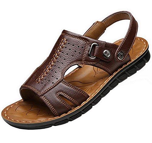 Vocni Heren Open Teen Casual Lederen Comfortschoenen Sandalen Sandalen Voor Heren Leer Casual Bruin