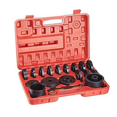 Jikkolumlukka 23 PCs Front Wheel Drive Bearing Removal Adapter Puller Pulley Tool Kit W/Case