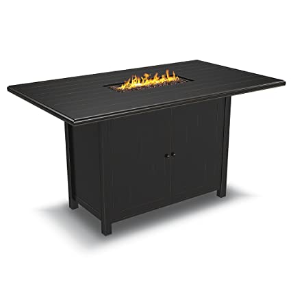 Ashley Furniture Signature Design   Perrymount Outdoor Rectangular Fire Pit  Bar Table   Plank Effect Styling