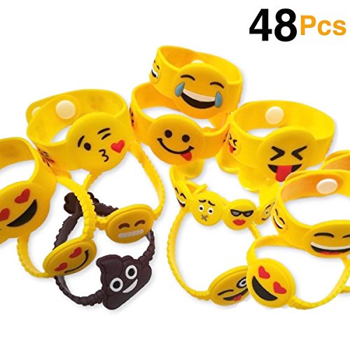 OHill 48 Pack Mixed Emoji Wristband Bracelets for Birthday Party Supplies Favors Prize -