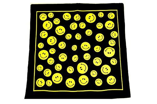 Zac's Alter Ego Men's Smiley Face Bandana, Hippy Neckerchief Cotton Approx. 53Cm X 53Cm Black/Yellow