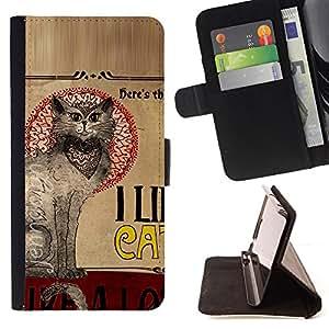 KingStore / Leather Etui en cuir / Sony Xperia Z3 Compact / Gatos Quote Art Gato oriental gris