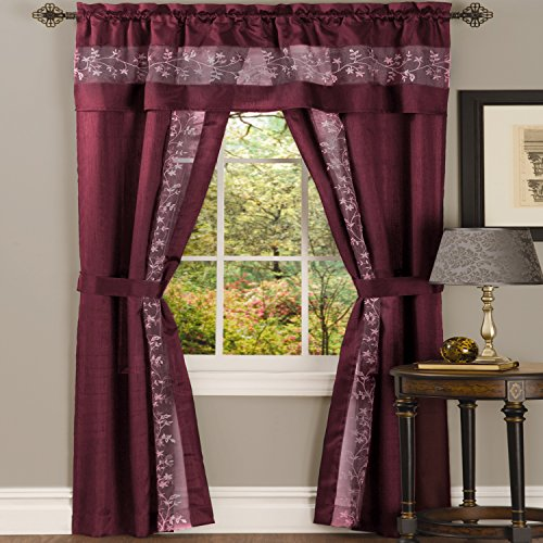 PowerSellerUSA 5-Piece Light Filtering Floral Semi-Sheer Window Curtain Set - Includes Split Panels, Valance and Tiebacks: 55