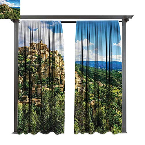 cobeDecor Thermal Insulated Drapes Wanderlust Gordes Medieval Village for Lawn & Garden, Water & Wind Proof W84 xL84