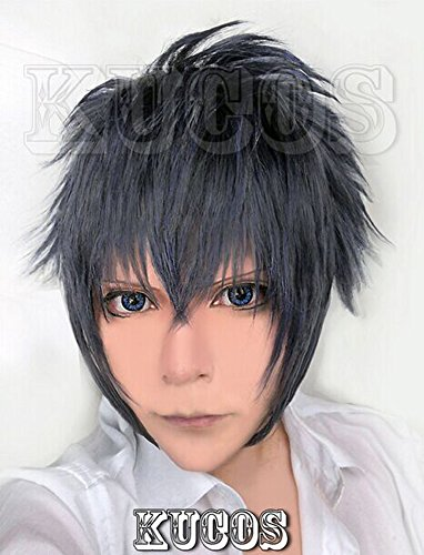 Happylifehere Japanese Game Short Layered Cosplay Costume Wig (Blue, Gray and Black Mixed)