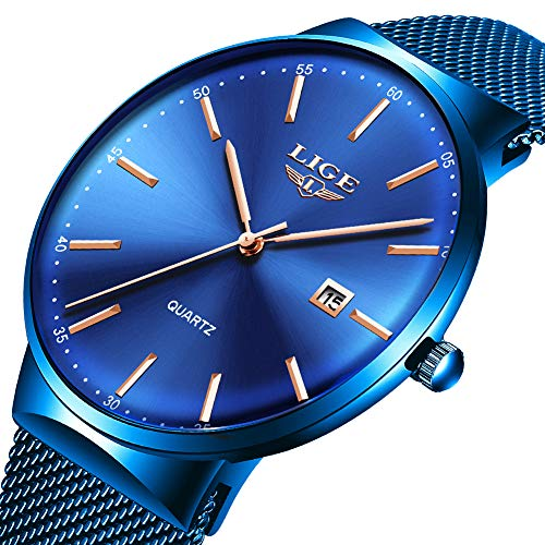 (Mens Watches,LIGE Watches for Men Fashion Sports Waterproof Stainless Steel Mesh Wristwatch Men Bussiness Dress with Date Full Blue Analog Quartz Watch)