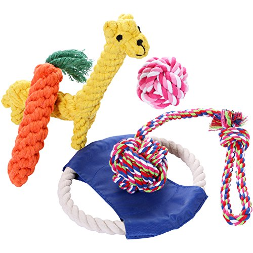 GoCoopper 5 Paack Gift Set Puppy Chew Dog Toys Interactive and Chewing Cotton Rope Toys for Medium to Small Pet Teething
