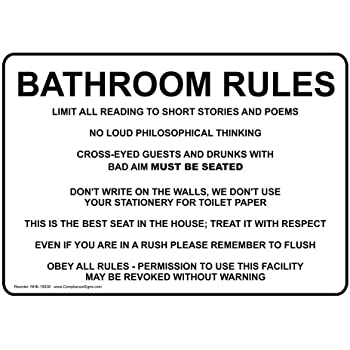compliancesigns aluminum restroom etiquette sign 10 x 7 in with english text white - Bathroom Etiquette