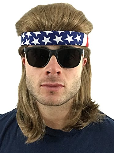 4 pc. Brown Mullet Wig + USA Bandana + 2-Tone Sunglasses: Hillbilly Redneck Long Funny Party Halloween Costume 80s Wig, Women's Men's 80's Mullet Wigs for Men Women Boys Girls Kids Adults (USA/2T)