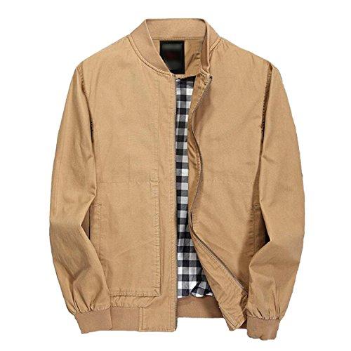 Pishon Men's Jacket Lightweight Casual Cotton Full Zip Windbreaker Bomber Jackets, Khaki, Tag Size XL=US Size XS