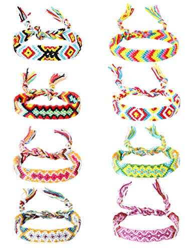 Sllaiss 8Pcs Nepal Woven Friendship Bracelets Colorful Handmade Braided Thread Bracelets for Wrist Ankle Assorted Styles