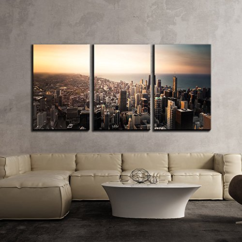 Skyline of City Downtown by the Seashore x3 Panels