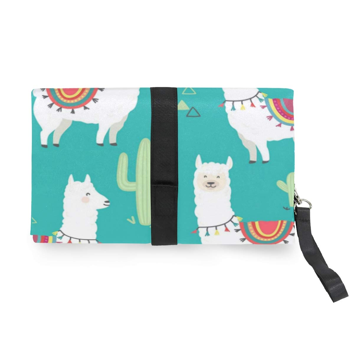 Llama Alpaca Waterproof Baby Changing Pad Diaper Bag Mat Foldable Travel Changing Station Portable Diaper Changing Pad Stroller Strap,Side Pocket for Wipes Diaper| for Infants /& Newborns