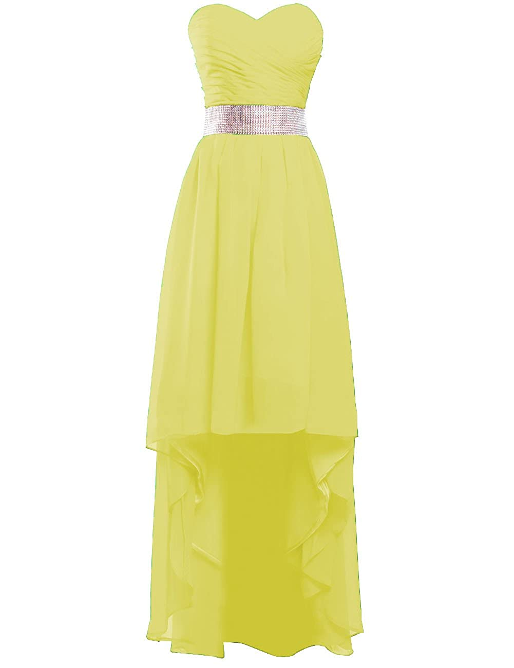 Yellow EDressy Women's High Low Bridesmaid Dresses Beaded Sweetheart Prom Evening Gowns Long Formal Dress