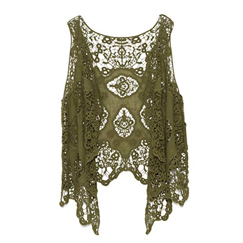 jastie Open Stitch Cardigan Boho Hippie Crochet Vest (Olive), Medium ()