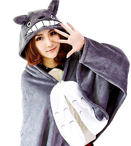 Shmily_B Anime Cosplay Cloak Halloween Costume Coral Fleece Hoodie Cape Shawl (Totoro)