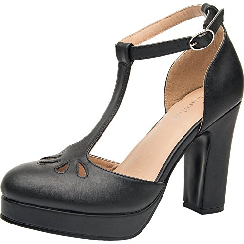 Luoika Women's Wide Width Heel Pump - Ankle Buckle Strap Mid Chunky Block Stacked Heel Close Toe Stilleto Platform Mary-Jean Shoes.(Black PU, 180304,Size 9) -