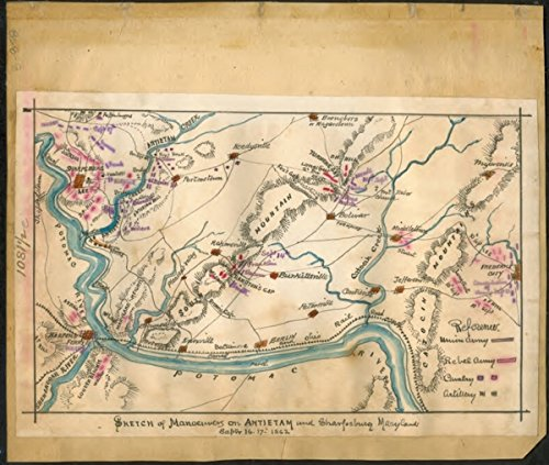 Baltimore Md Map (1862-1865 Shows the area from Harper's Ferry, W. Va., west to Frederick, Md., and the position of Confederate forces under R. E. Lee and Union forces under McClellen. The map also shows Hagerstown, Md., south to the Potomac River. The Baltimore and Ohio Railroad is also indicated.)