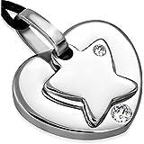 Pendentif acier et or coeur entrelace mini prix