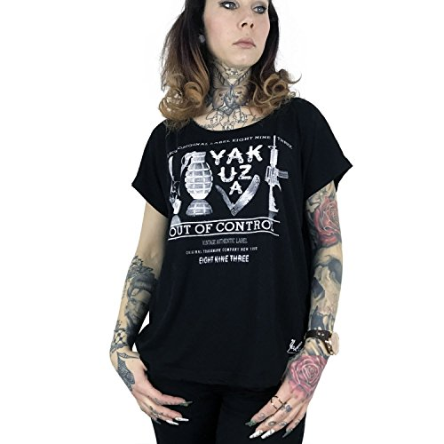 Yakuza Mujeres Ropa superior / Camiseta Out Of Control Wide Crew negro