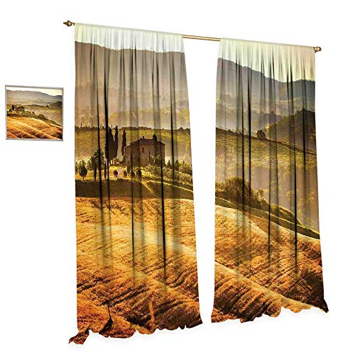 (cobeDecor Tuscan Window Curtain Fabric Siena Tuscany Retro Farm House Trees Old Path Country Landscape on Sunset Drapes for Living Room W96 x L108 Ginger and Green)