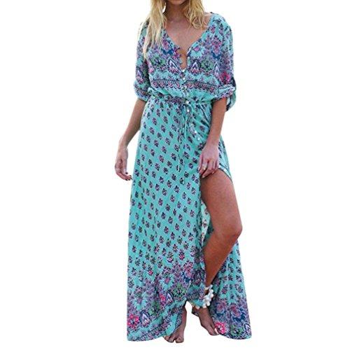 Vestido Mujer ♛JiaMeng Vestido de Fiesta Largo de la Playa de la impresión Floral del Cuello en V de Las Mujeres del Vestido Largo Maxi Largo de Las Mujeres Verde