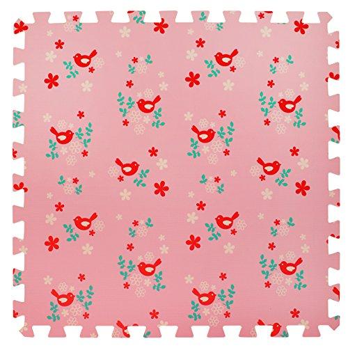 6 Grande Tapis de jeu en mousse souple pour les enfants et bébés - 6 tapis roses assemblables avec des oiseaux