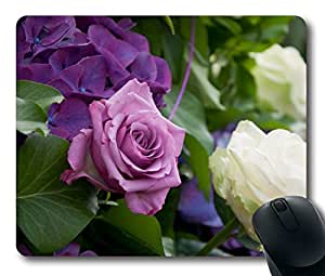 Custom Funny Mouse Pad with Lilac Rose Bush Hydrangea White Leaves Non-Slip Neoprene Rubber Standard Size 9 Inch(220mm) X 7 Inch(180mm) X 1/8 Inch(3mm) Desktop Mousepad Laptop Mousepads Comfortable Computer Mouse Mat