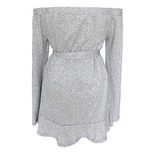 Visten Manguito M Completo S Cuello Vestido Slash Mujeres Tejer Size XINGMU Gris Las Mini Plus Oqd4xg7w