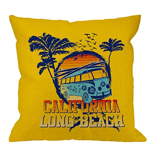 (HGOD DESIGNS Throw Pillow Cover California Long Beach Palm Tree Travel Bus Flying Seabird Go On Holiday Home Decorative Pillow Cases Cotton Linen Square Cushion Covers For Sofa Couch 18x18 Inch)