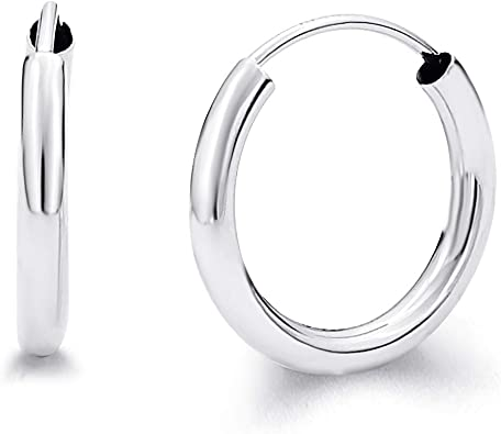 14k White Gold 2mm Thick Round Tube Hoop Earrings High Polished, 65mm