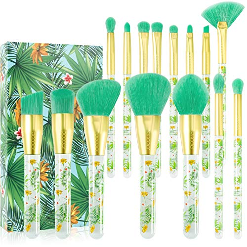 Tropical Makeup Brushes Docolor 14 Pieces Professional Makeup Brushes Set Premium Synthetic Kabuki Foundation Blending Contour Face Powder Mineral Eyeshadow Make Up Brushes Set
