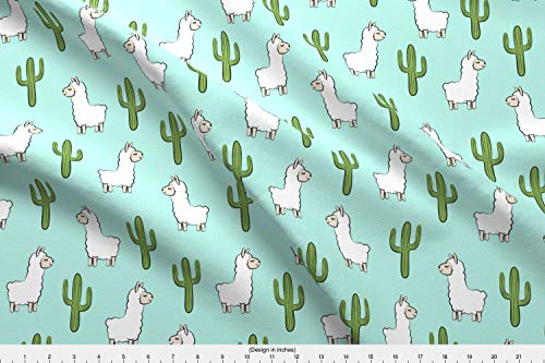 Spoonflower Cactus Fabric - Cactus Llama Trendy Little Arrow Alpaca Boho Southwest - by Littlearrowdesign Printed on Fleece Fabric by The ()