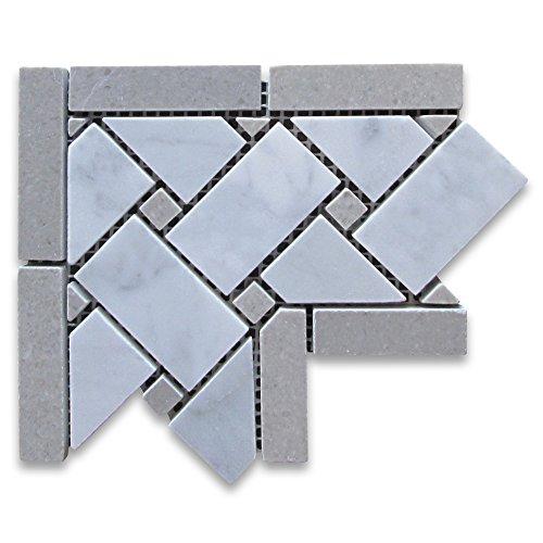 high-quality Carrara White Italian Carrera Marble Basketweave Mosaic Corner Gray Dots 4 x 4 Polished