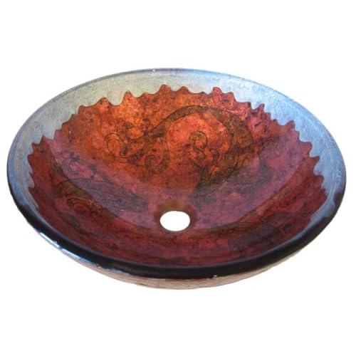 80%OFF Novatto CARPIONE Glass Vessel Bathroom Sink Set, Oil Rubbed Bronze