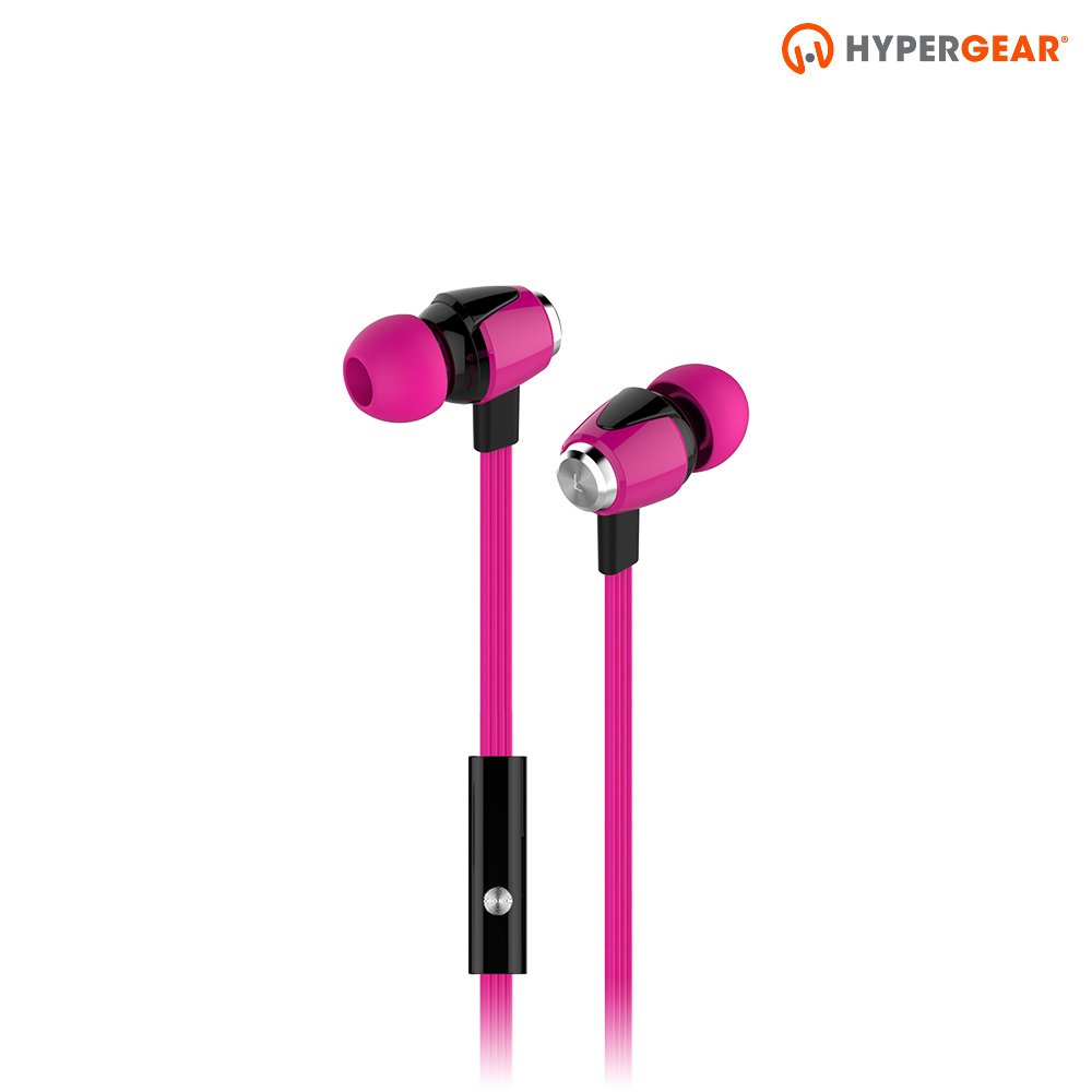 HyperGear dBm Wave Wired In-Ear Headphones with In-line Microphone for Calls. Noise Isolation Earphones with Precision Bass Sound Compatible for iPhones, Androids, iPad Tablets Other Devices Pink