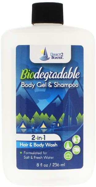 Direct 2 Boater Biodegradable Shampoo & Body Wash 8 oz - 2-in-1 Hair & Body Wash, for Fresh & Salt Water, No Dies or Fragrances