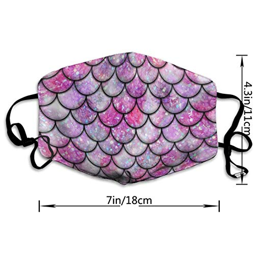 AGRBLUEN Unisex Breathable Reusable Galaxy Sparkling Mermaid Scales Print Pink Mouth Mask, Adjustable Earloop Safety Anti Dust Pollution Half Face Mask for Running Cycling Travel Skiing