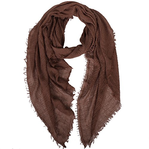 LMVERNA Women Cotton Scarf Shawl Solid Color Fashion Long Wrap Scarf (Brown) - Viscose Scarf Brown